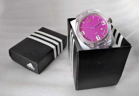 Relógio adidas Com Mostrador Pink E Pulseira Transparente