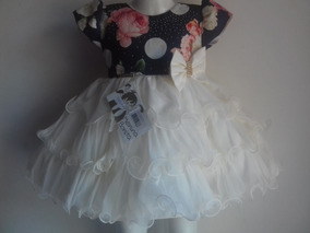 Vestido Bebê Florido Azul Luxo Festa Babados Menina Bonita