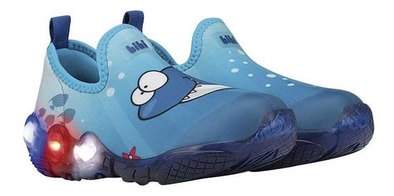 Tênis Infantil Bibi Masculino Azul Tubarão Com Luz 545247
