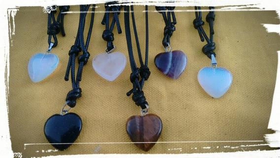 Colar Coração Em Pedra Natural
