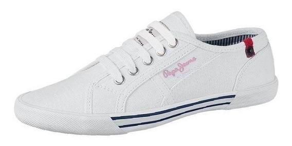 Tenis Mujer Marca Pepe Jeans Mod 00 Tne Blanco