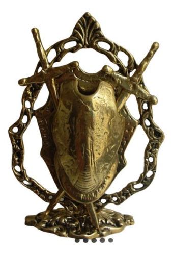 Escudo Medieval De Mesa Bronze Maciço Com Espada Removivel