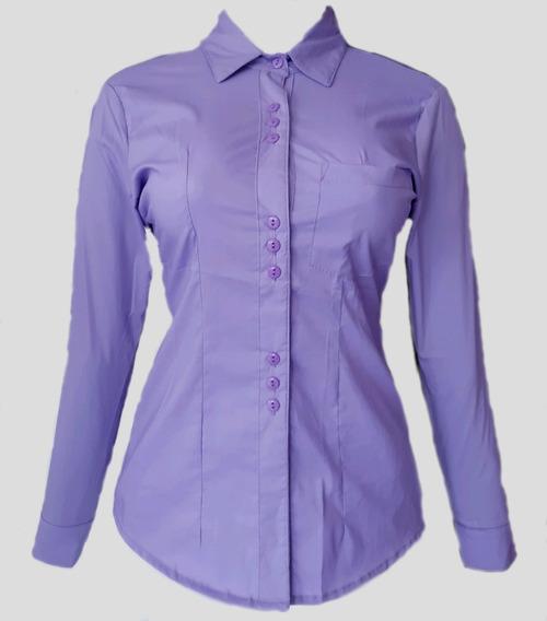 Camisa Modelo Margarita Para Dama Color Lila