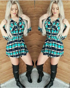 Vestido Feminino Xadrez Camisão Moda Chemise Viscose Roupa