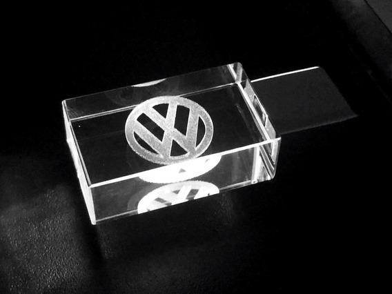 Pen Drive 32gb Cristal Led Volkswagen Branco+ Caixa Portátil