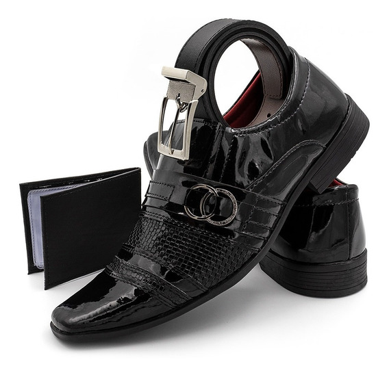 Sapato Social Masculino Couro Sintético Com Verniz Outlet