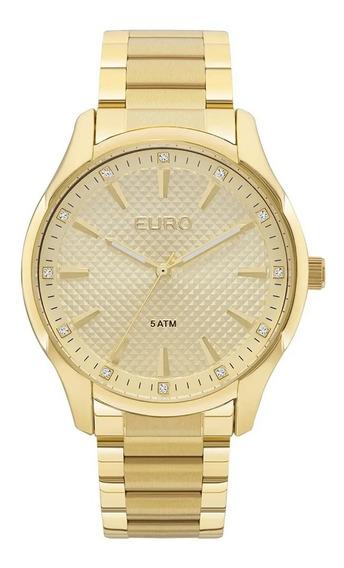 Relogio Euro Feminino Dourado Strass Original A Prova Dagua Com Garantia De Fabrica E Nota Fiscal Euy121e6ab/4d