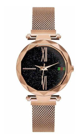 Relógio Céu Estrelado Gt - Pulseira De Imã - Dourado