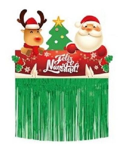 Cortina Navideña Lluvia Verde 50x65cm Decoracion Navidad
