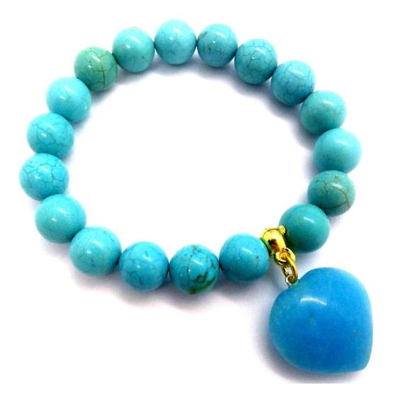 Pulseira De Esferas Da Pedra Turquesa C/ Coração Amuleto