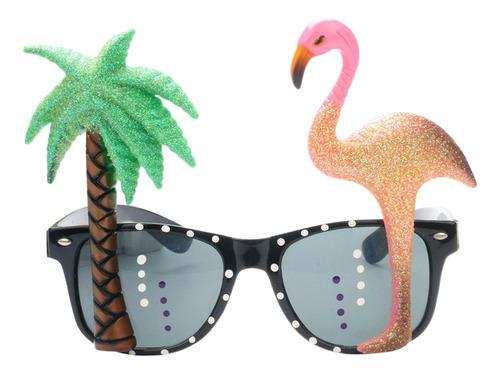Imagen 1 de 8 de Novedad Gafas Redonda Tropical Flamenco Fiesta Gafas De Sol