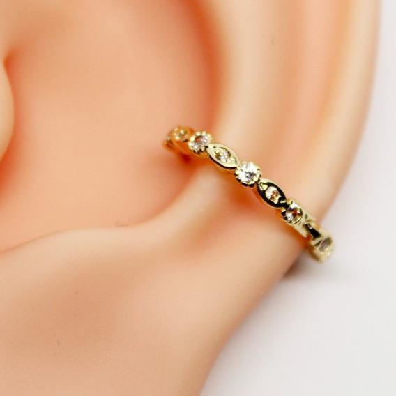 Piercing Conch Clicker Mystic Folheado Ouro Todo Cravejado