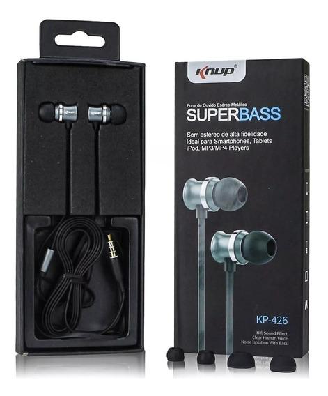 Fone De Ouvido Com Microfone Metálico Super Bass P2 Celular