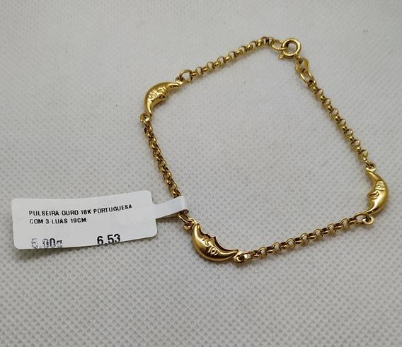 Pulseira Em Ouro 18k Portuguesa Com 3 Luas 19cm 5,00g
