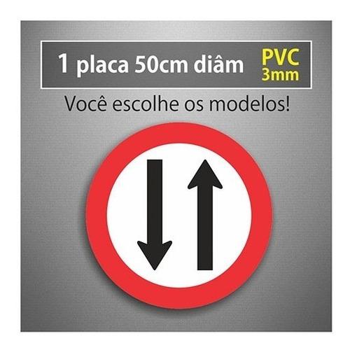 Placa Duplo Sentido - 50cm Diâmetro - Pvc 3mm