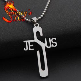 Colar Pingente Jesus Cruz Em Aço Inoxidável