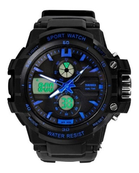 Relógio Para Criança Skmei 0990l Anadigi Preto E Azul Com Nf