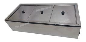 Molheira Elétrica Inox Banho Maria Com 3 Cubas Total 15 Lts