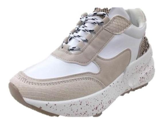 Zapatos Deportivos Boom Para Dama Blanco Con Beig