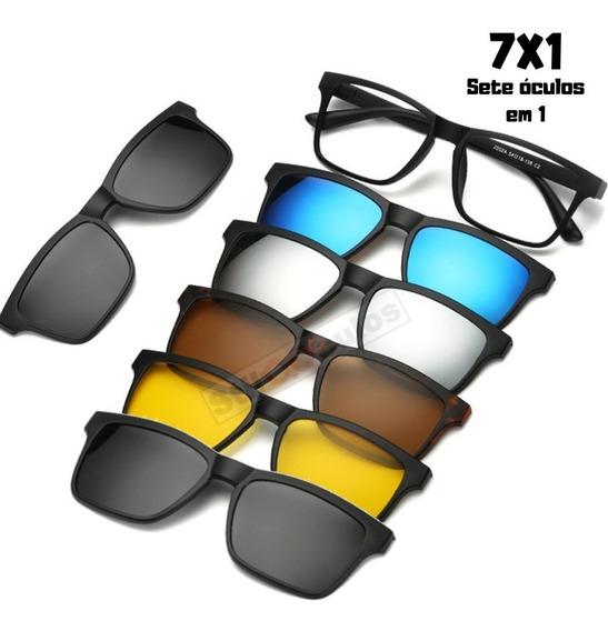 Armação E Óculos De Sol Clip On 7 Em 1 Polarizado E Uv400