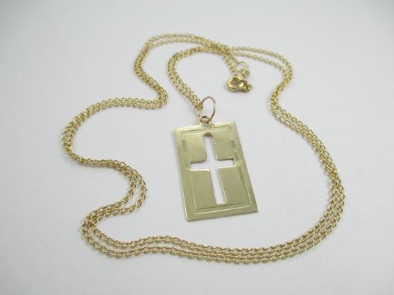 Longa Corrente E Placa Crucifixo - Ouro 18k - 5.78 Gr - 67cm