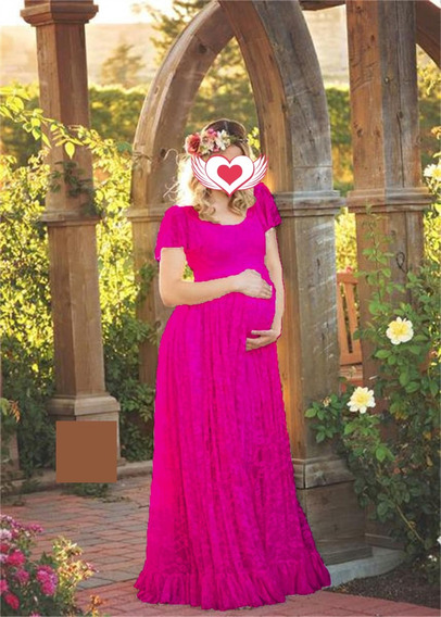 Vestido Renda Rosa Pink Forro Gestante Grávida Ensaio Fotos