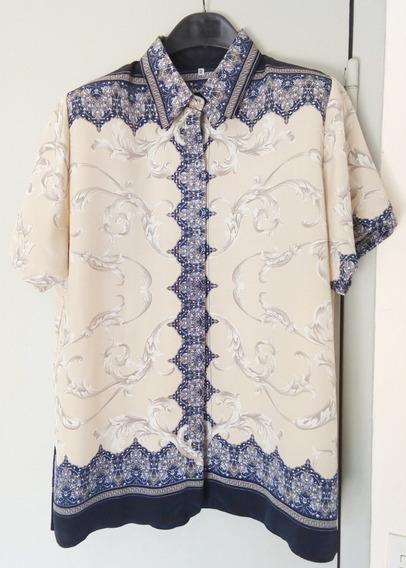 Camisa Camisola Recta C/ Hombreras - Talle Grande Impecable