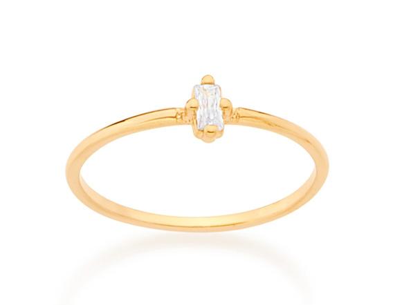 Anel Solitário Skinny Ring Folheado Ouro Rommanel 512545