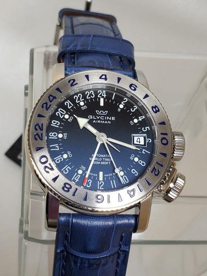 Relógio Glycine 3918.18.lbk8 Airman 18 Gmt Automático 39mm