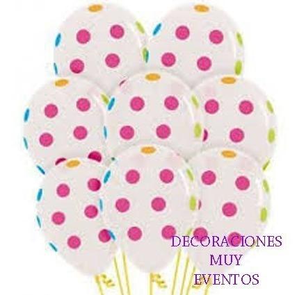 Pack De 10 Globos Con Lunares Neón Nuevos!