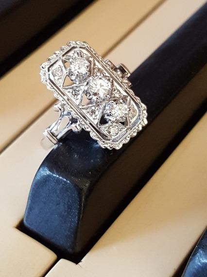 Antigo Anel De Platina E Diamantes Anos 1920