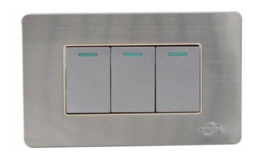 Imagen 1 de 2 de Interruptor Switche Triple Pared Acero Inoxidable De Lujo