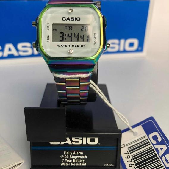 Casio A168 Unicornio Tornasol Con Diamante Y Fondo Blanco