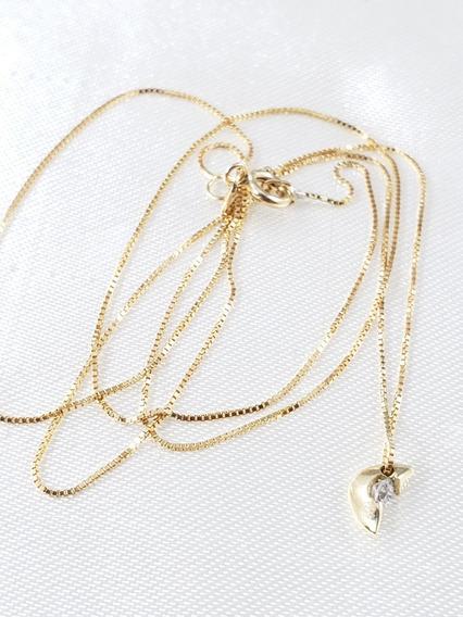 Gargantilha Ponto De Luz De Ouro Com Diamante De 06 Pontos