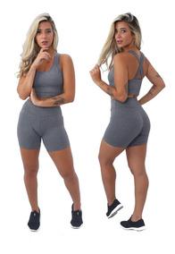 Conjunto Short + Top Cinza Preto Liso Moda Fitness Feminina