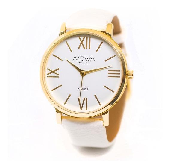Relógio Nowa Feminino Dourado Couro Nw1405k Original