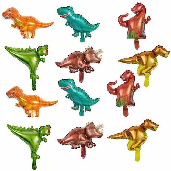 Kit 12 Globos Mini Figuras Dinosaurios Para Centros De Mesa
