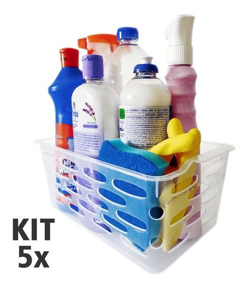 Kit Com 5 Cestas Organizadoras Transparente 27,5x16x11cm