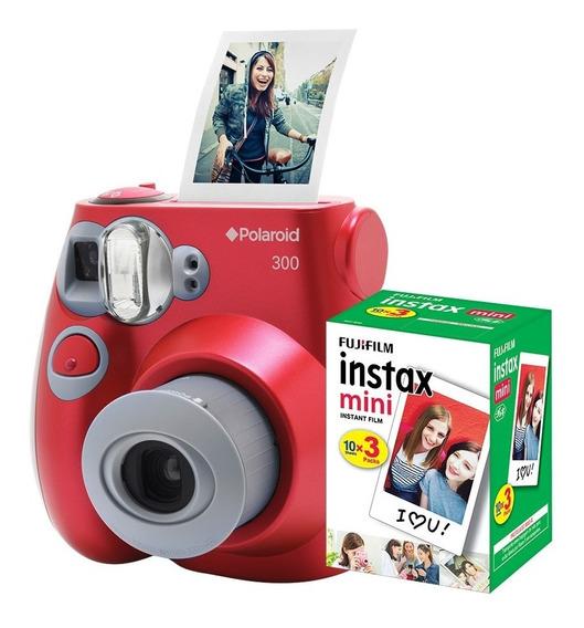Câmera Polaroid Instantânea Pic 300 Verm. C/ Filme 30 Poses