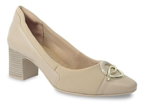Lançamento Sapato Feminino Comfortflex Salto Baixo Avelã