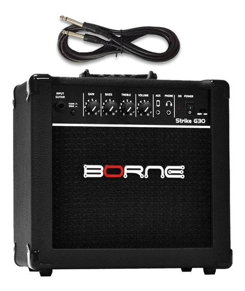 Amplificador Borne Guitarra Strike Preto G30 + Cabo P10