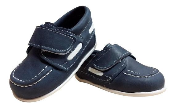 Zapato Náutico Bebe Niño 100% Cuero Con Abrojo Azul/marrón