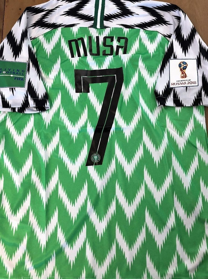Camisa Nigéria Copa Do Mundo 2018 Musa #7 Vs Islandia