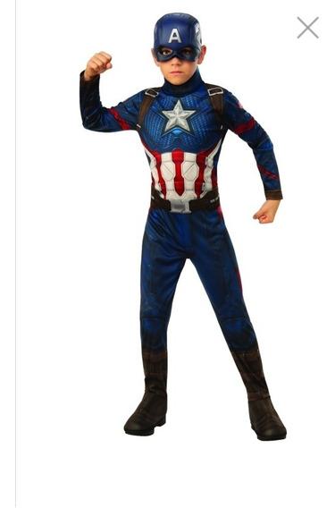 Disfraz Capitán América Importado Máscara Escudo Y Guantes