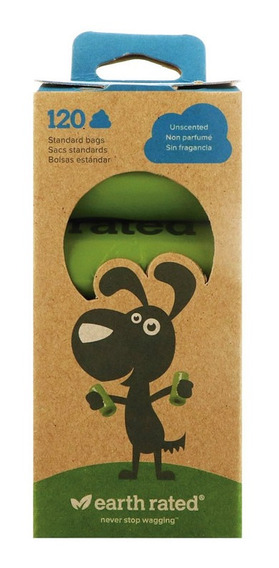 Bolsas Biodegradables Earth Rated Sin Olor P/ Heces 8 Rollos