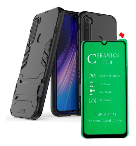 Funda Estuche Antichoque  Armadura + Vidrio 5d Xiaomi Note 8
