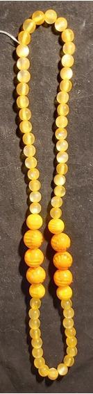 Rdf00335 - Colar Italiano Vintage Amarelo - Contas Acrílico