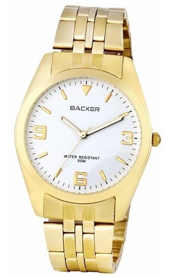 Relogio Backer 3008175f Unissex Dourado Fundo Branco