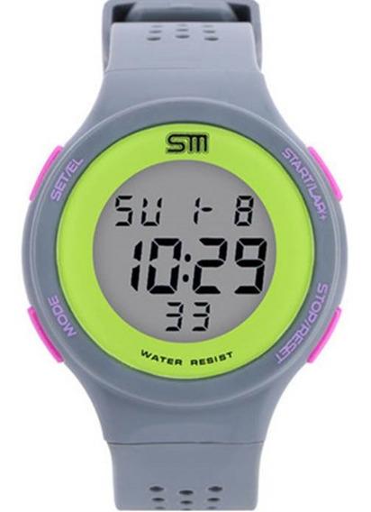 Relógio Feminino Sm Fitness Prova De Água Cronometro Calendário Alarme E Luz