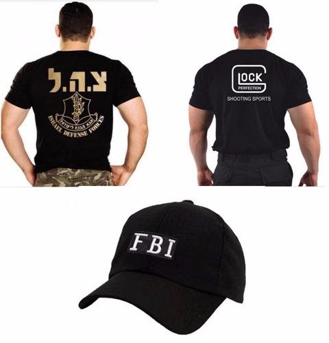 Imagem 1 de 4 de Boné Fbi + Camiseta Israel Defense + Camiseta Glock Bordada